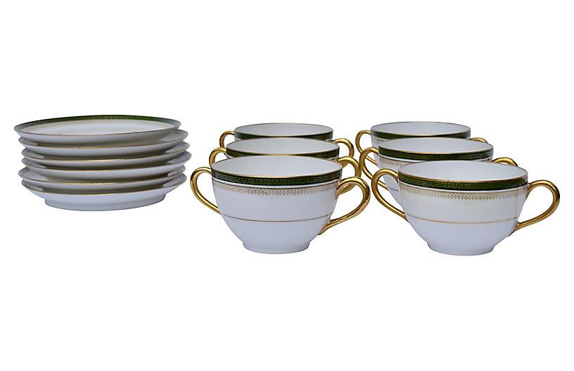 Limoges Bouillon Cups & Saucers, S/6