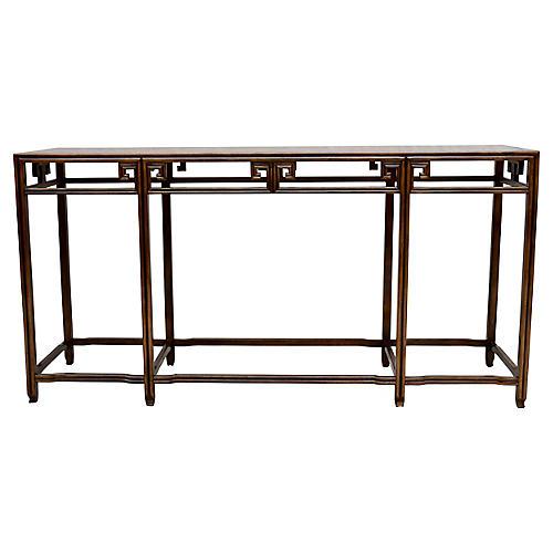 Baker Furniture Burl-Wood Console