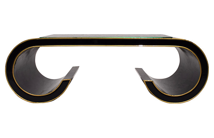 Modern Black & Gold Scroll Coffee Table