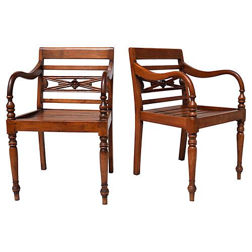 Regency Style Teak Slat Seat Chairs, S/2