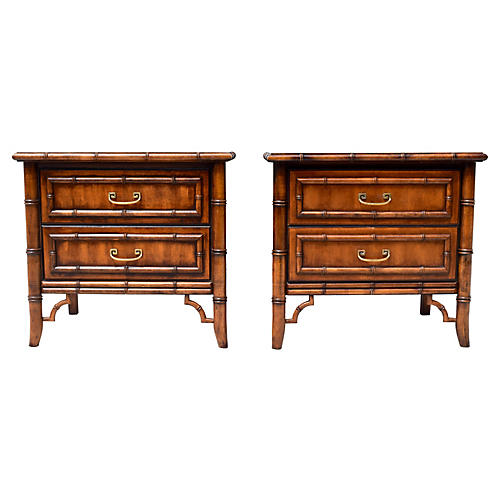 Faux Bamboo Nightstands, Pair