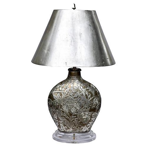 1980's Designer Leeazanne Gilt Lamp