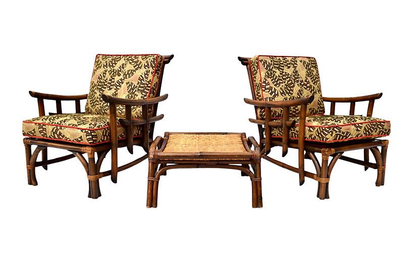Pagoda Rattan Chair Ottoman Set