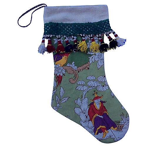 Vintage Chinoserie Christmas Stocking