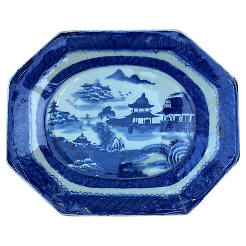Blue & White Chinese Pagoda Platter