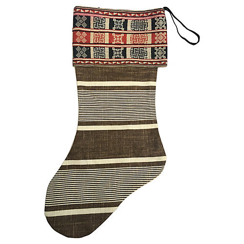 French Ticking Christmas Stocking