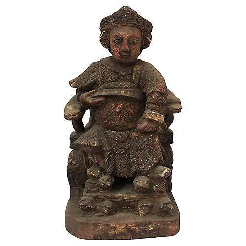 Chinese Emperor Carved Statue