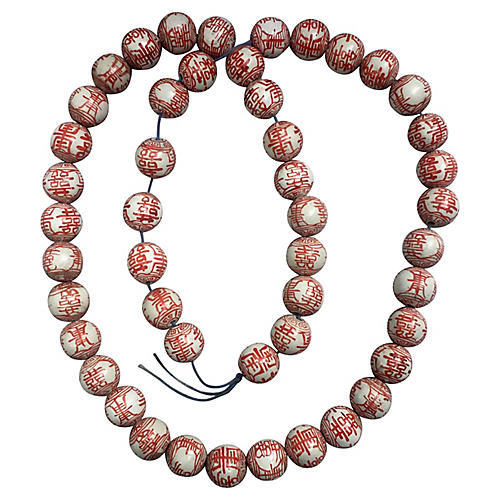 Coral & White Porcelain Beads, 48 pcs