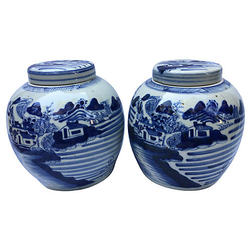 Countryside Scene Porcelain Jars, S/2