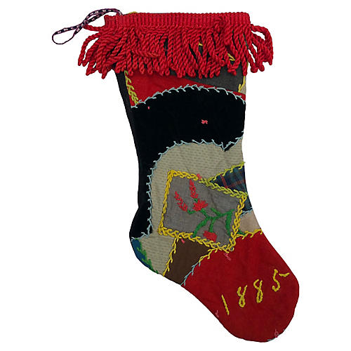 Antique Crazy Quilt X-mad Stocking 1885