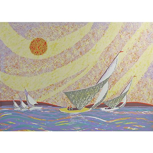 Yellow Sailboat by Edward Goldman