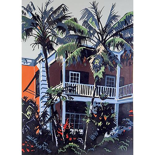 Coco Palms Serigraph by Jon Carsman