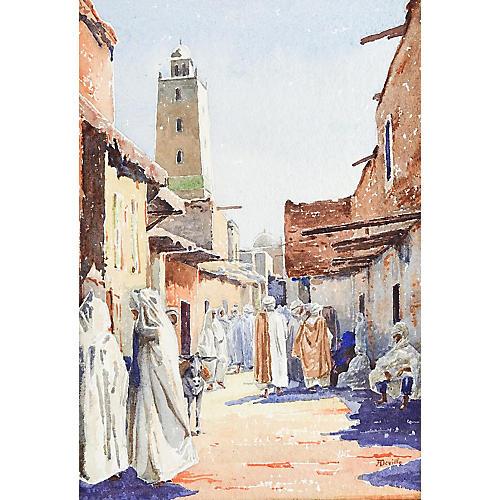 Market Scene Watercolor Circa 1910