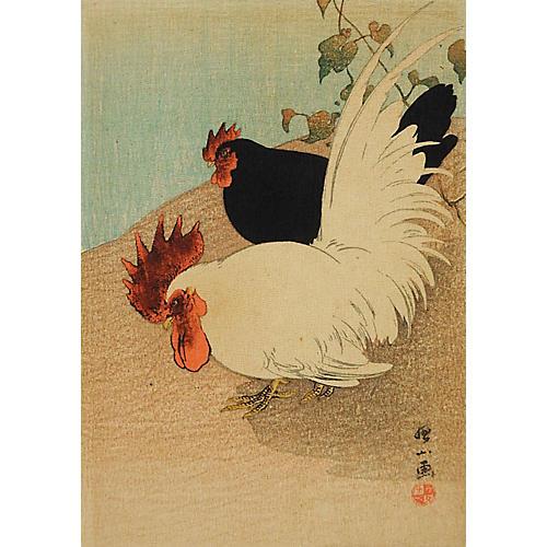 Japanese Wood Block Rooster Print