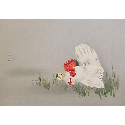 Japanese Rooster Block Print by Seitei