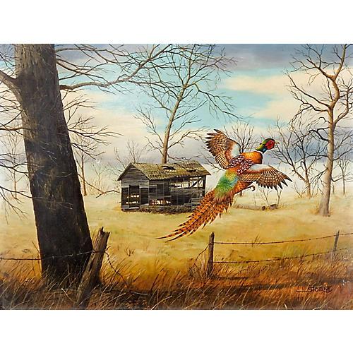 Pheasant in Flight Painting