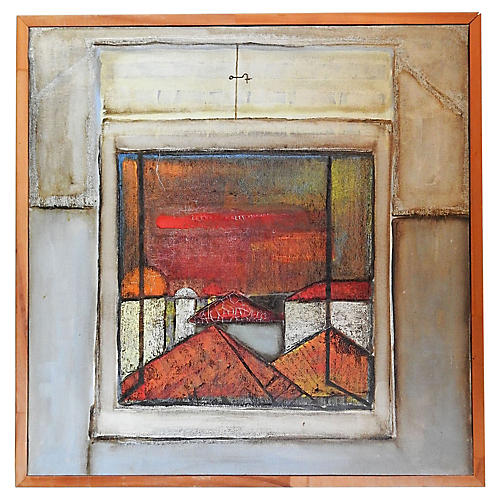 Abstract Window Landscape Painting