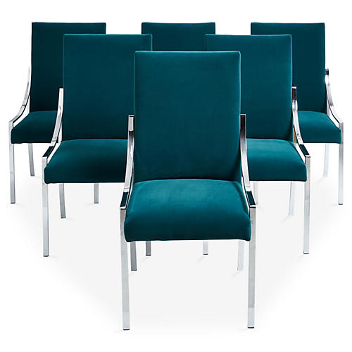 Chrome & Peacock Dining Room Chairs, S/6