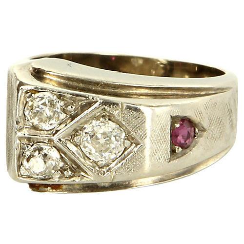 14K White Gold, Diamond & Ruby Ring