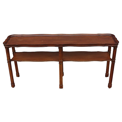 2-Tiered Faux-Bamboo Console