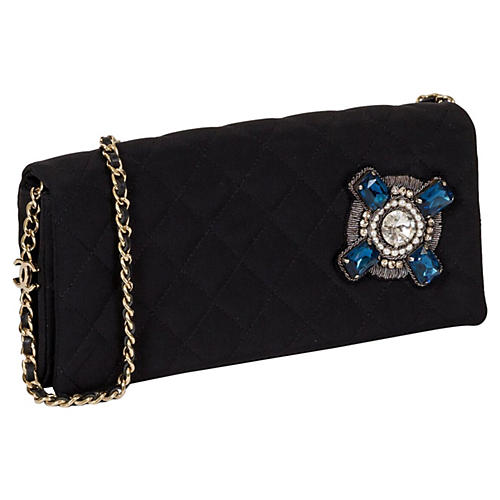 Chanel Black Quilted Jeweled Evening Bag