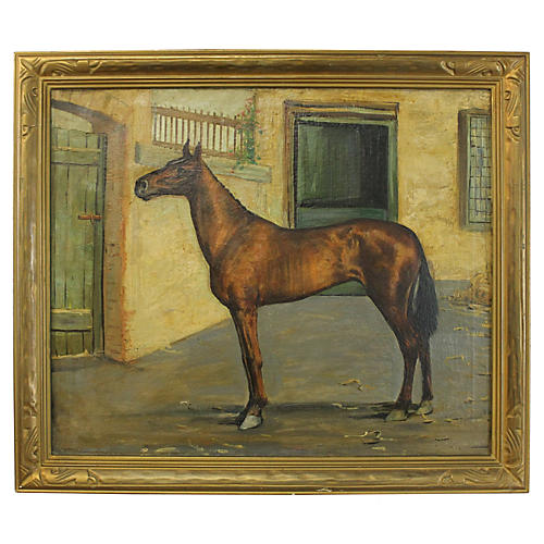 Equestrian Oil Painting w/ Gilt Frame