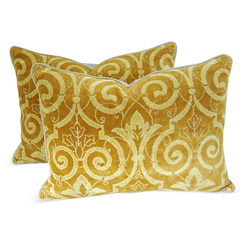 Scalamandre Velvet Fabric Pillows, Pr