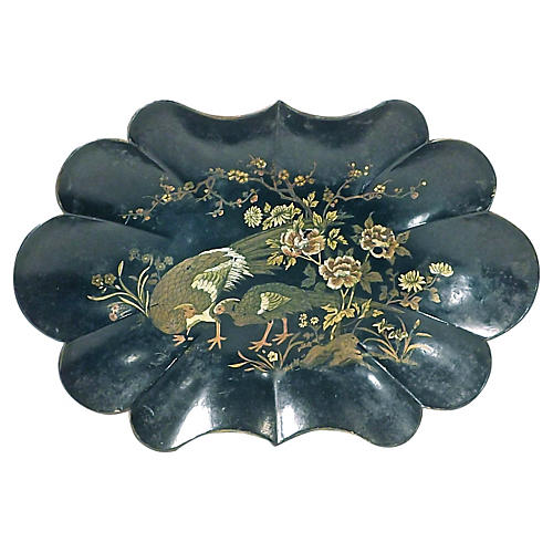 Antique Papier-Mâché Scalloped Tray