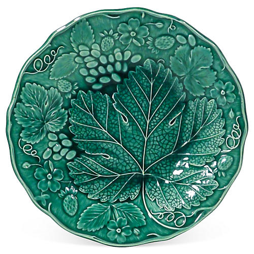 Antique Majolica Grape Leaf Plate