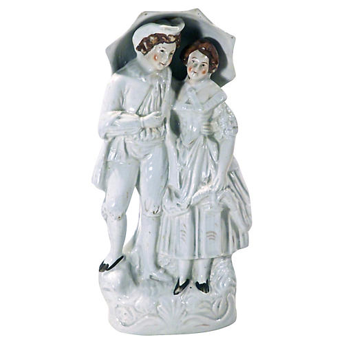 Antique Staffordshire Umbrella Couple