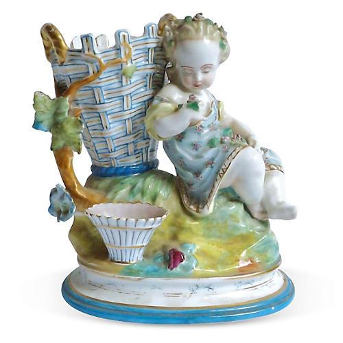 Antique Majolica Cherub Figurine Vase