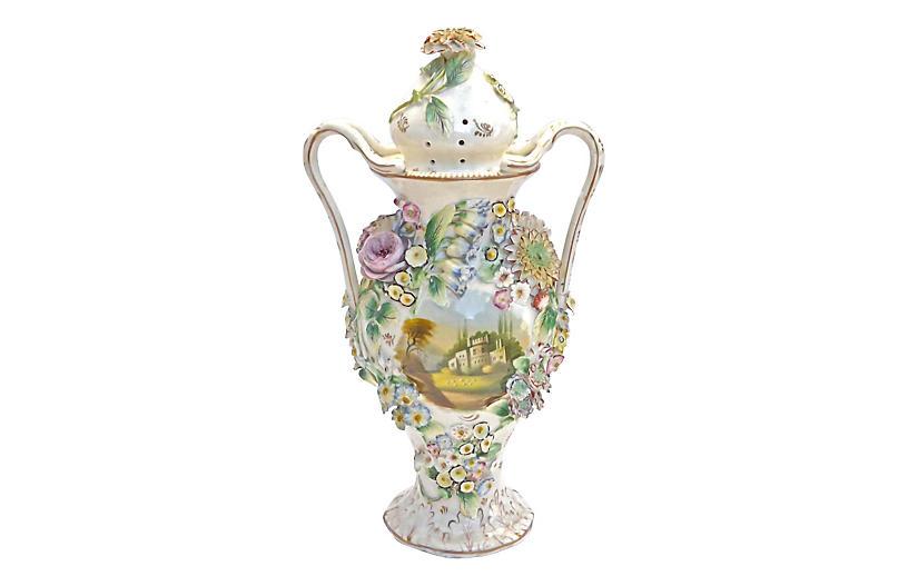 Large Antique Jacob Petit Floral Urn