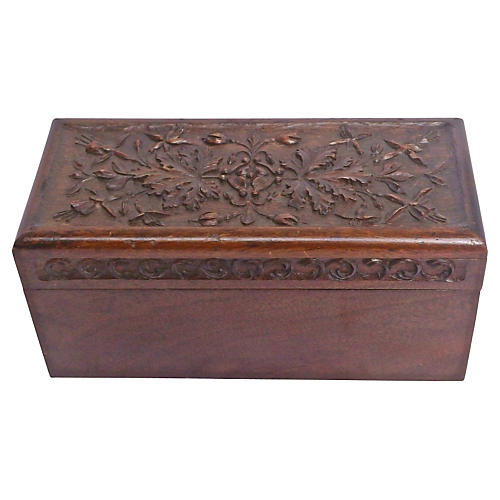 Antique Hand-Carved Leaf Jewelry Box
