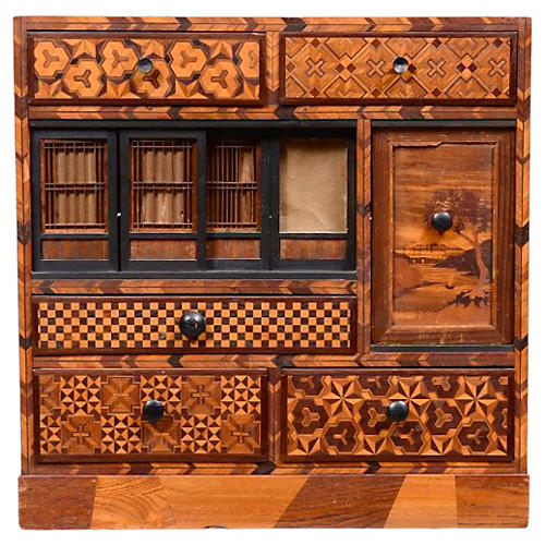 Antique Inlaid Exotic Woods Cabinet