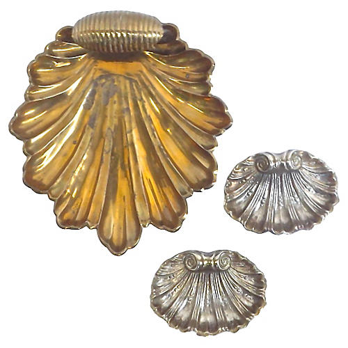 Vintage Leaf & Shell Dishes, S/3