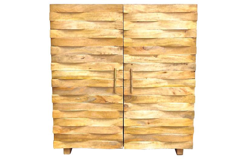 Carved Basket-Weave Cabinet