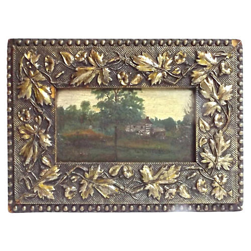Antique Log Cabin Oil Painting