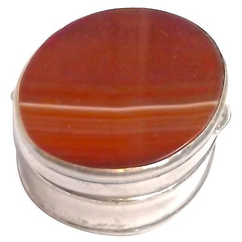 Antique Handmade Agate/Silver Pill Box