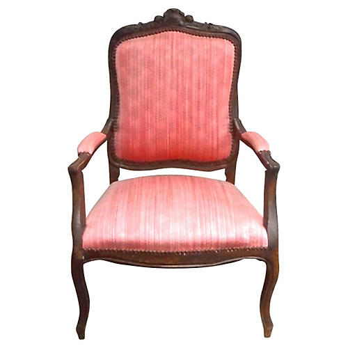 Antique French Hand-Carved Fauteuil