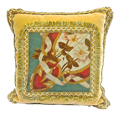 19th-C. Velvet & Floral Aubusson Pillow