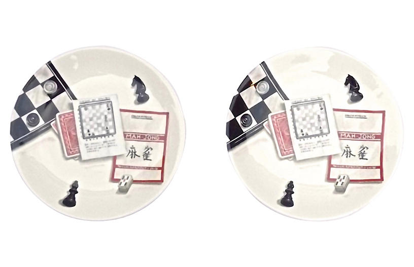 French Gaming Theme Gien Plates, S/2