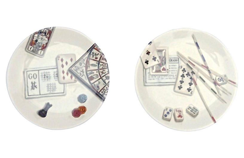 French Gien Gaming Theme Plates, S/2