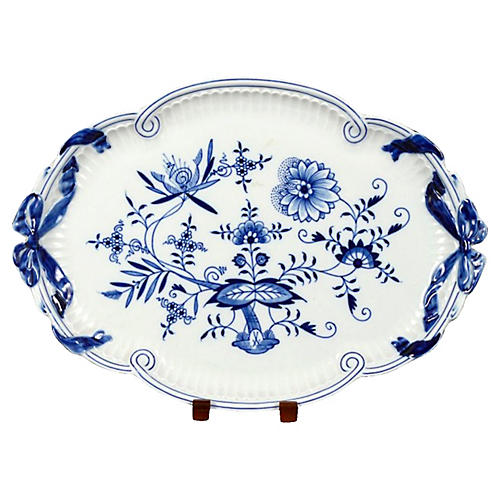 Antique Meissen Floral Oval Tray
