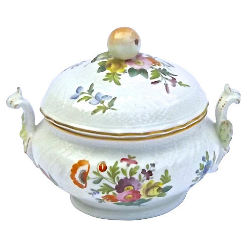 Antique Porcelain Floral Lidded Tureen