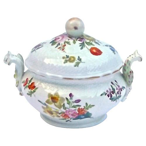 Porcelain Antique Floral Lidded Tureen