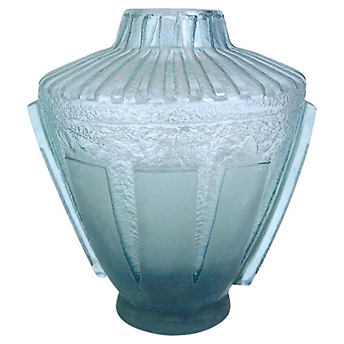 Art Deco Daum Geometric Etch Glass Vase