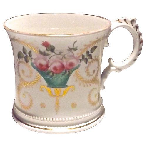 Antique Floral Paris Porcelain Cachepot