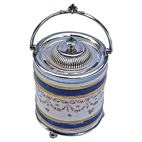English Floral & Silver Biscuit Jar