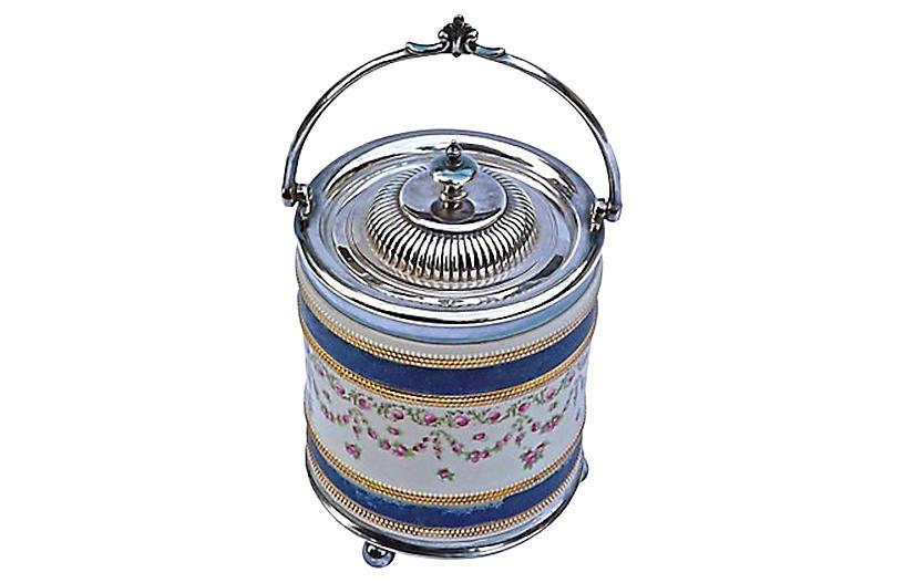 English Floral & Silver Biscuit Jar