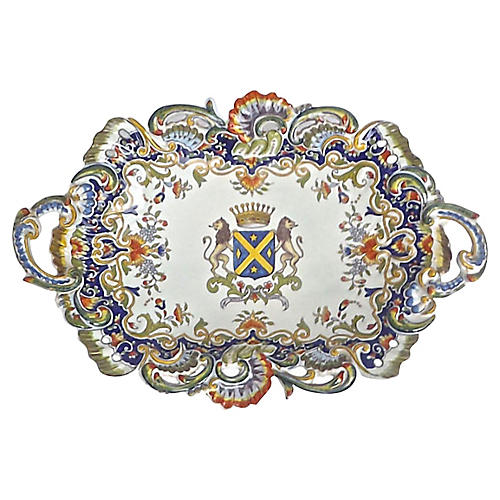Heraldic Coat of Arms Antique Platter
